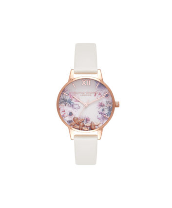 OLIVIA BURTON LONDON Busy BeesOB16CH13 – Midi Dial Round in White and Nude - Front view