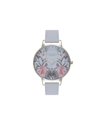 OLIVIA BURTON LONDON Enchanted Garden Chalk Blue & SilverOB16EG73 – Big Dial Round in Chalk Blue and Silver - Front view