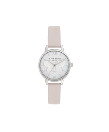 OLIVIA BURTON LONDON Lace Detail Midi Dial WatchOB16MV97 – Midi Dial in pink and Silver - Front view