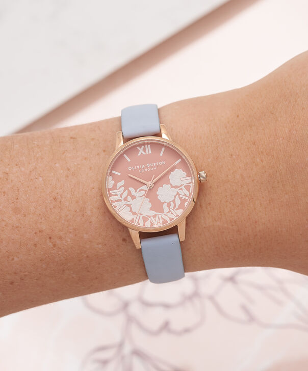 OLIVIA BURTON LONDON  Lace Detail Rose Petal Dial Chalk Blue & Rose Gold Watch OB16MV71 – Midi Dial Round in Rose Gold and Blue - Other view