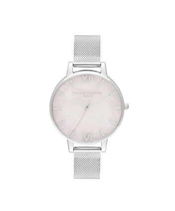OLIVIA BURTON LONDON Big Dial Rose Quartz & Silver MeshOB16SP18 – Big Dial in Silver and Silver - Front view