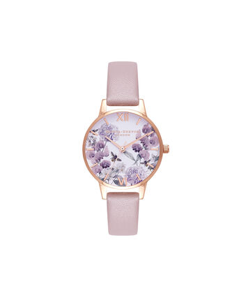 OLIVIA BURTON LONDON  Vegan Friendly Enchanted Garden Rose Sand & Rose Gold Watch OB16VE08 – Midi Dial Round in Rose Gold and Rose - Front view