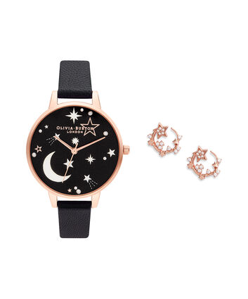 OLIVIA BURTON LONDON Ramadan Black & Rose Gold Gift SetOB16GSET40 – Ramdan  Black & Rose Gold Gift Set - Front view
