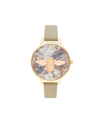 OLIVIA BURTON LONDON Marble Florals Demi 3D Bee Sand & GoldOB16CS22 – Demi Dial In Brown And Gold - Front view