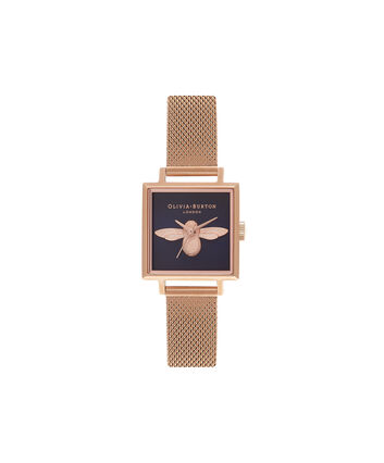 OLIVIA BURTON LONDON  Square Dial 3D Bee Midnight & Rose Gold Mesh Watch OB16AM96 – Midi Square Navy and Rose Gold - Front view
