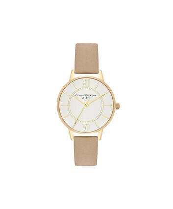 OLIVIA BURTON LONDON  Wonderland Sand, Silver & Gold OB16WD81 – Midi Dial Round in Gold and Sand - Front view