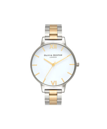 OLIVIA BURTON LONDON  Big Dial White Dial Silver & Gold Bracelet Watch OB16BL45 – Big Dial in White, Silver and Gold - Front view