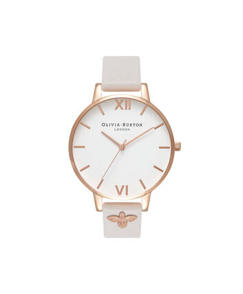 OLIVIA BURTON LONDON  3D Bee Embellished Strap Blush & Rose Gold Watch OB16ES02 – Big Dial Round in White and Blush - Front view