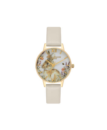 OLIVIA BURTON LONDON  Vegan Friendly Woodland Bunny Vegan Nude & Gold Watch OB16WL65 – Midi Dial Round in White and Nude - Front view