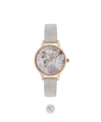 OLIVIA BURTON LONDON Eco-Friendly Midi Dial Rose Gold WatchOB16VE14 – Midi Dial in grey and Rose Gold - Front view