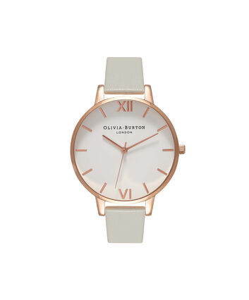 OLIVIA BURTON LONDON  Big Dial Grey & Rose Gold Watch OB15BDW02 – Big Dial Round in White and Grey - Front view
