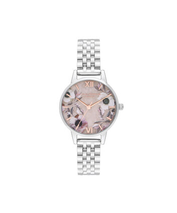 OLIVIA BURTON LONDON Midi Rose Quartz & Silver BraceletOB16SP07 – Midi Dial in Silver and Silver - Front view