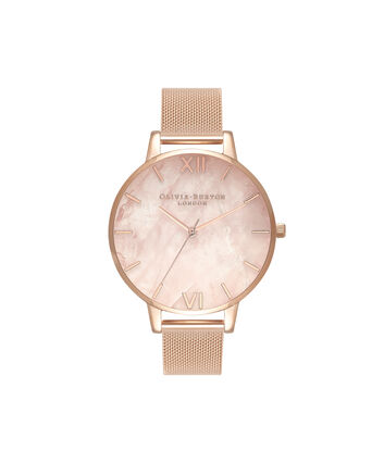 OLIVIA BURTON LONDON Semi Precious Rose Gold MeshOB16SP01 – Big Dial Round in Rose Gold - Front view