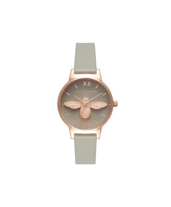 OLIVIA BURTON LONDON  Midi 3D Bee Grey Dial & Rose Gold Watch OB15AM77 – Midi Dial Round in Grey - Front view