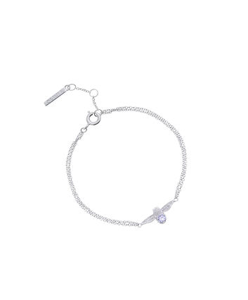 OLIVIA BURTON LONDON  3D Bee Bejewelled Chain Bracelet Silver with Tanzanite Gemstone OBJ16AMB28 – 3D Bee Bejewelled Chain Bracelet - Front view