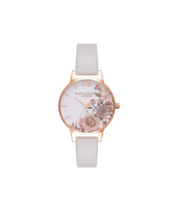 OLIVIA BURTON LONDON Enchanted GardenOB16WG37 – Midi Dial Round in Rose Gold and Blush - Front view