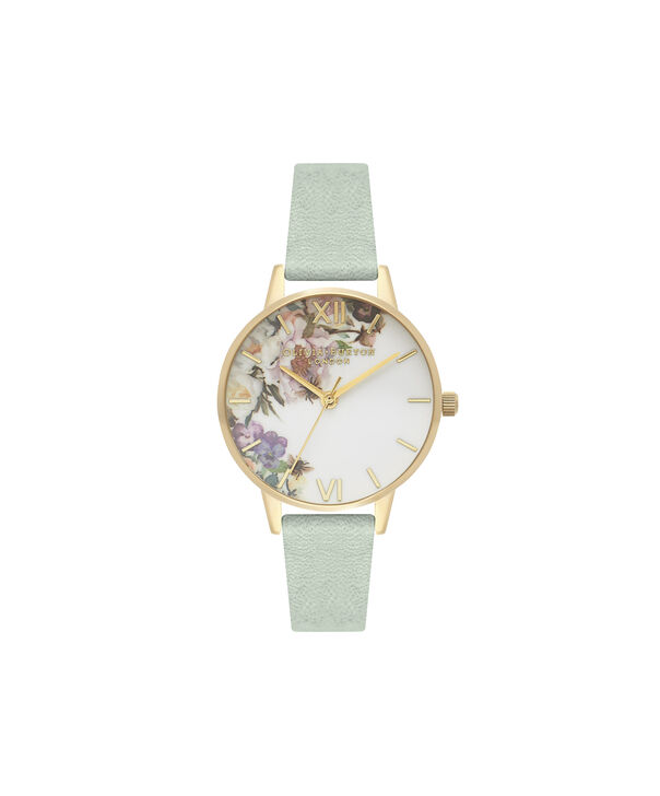a1348c864c97 OLIVIA BURTON LONDON Enchanted Garden Sage   Gold OB16EG112 – Green - Front  ...