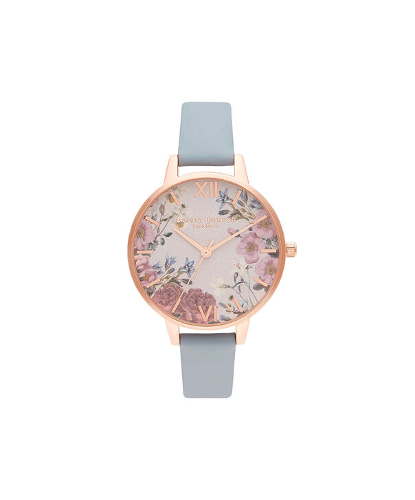 OLIVIA BURTON LONDON British Blooms Chalk Blue & Rose GoldOB16EG132 – British Blooms Chalk Blue & Rose Gold - Front view