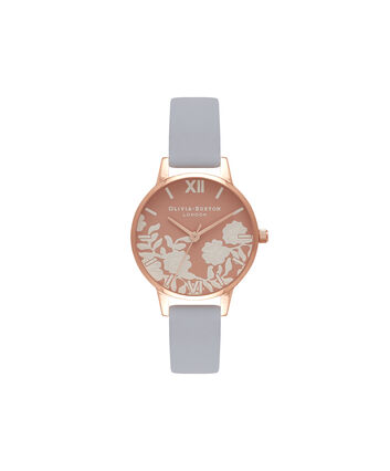 OLIVIA BURTON LONDON  Lace Detail Rose Petal Dial Chalk Blue & Rose Gold Watch OB16MV71 – Midi Dial Round in Rose Gold and Blue - Front view