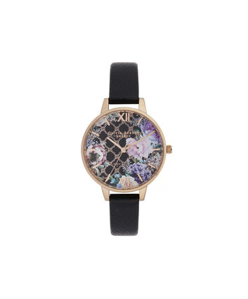 OLIVIA BURTON LONDON Glasshouse Demi Dial WatchOB16GH11 – Demi Dial in black and Rose Gold - Front view