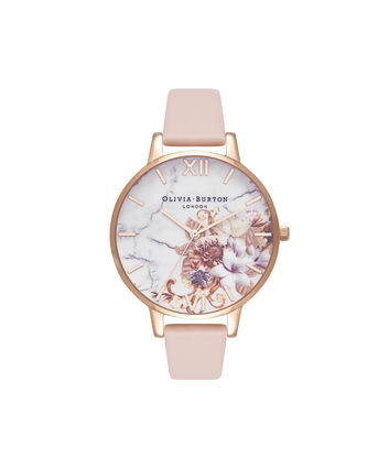 OLIVIA BURTON LONDON  Marble Floral Nude Peach & Rose Gold Watch OB16CS12 – Big Dial in White and Nude Peach - Front view