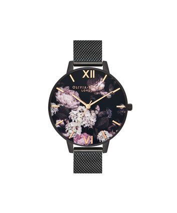 OLIVIA BURTON LONDON  Signature Florals IP Black Mesh OB16AD35 – Big Dial Round in Black and Rose Gold - Front view