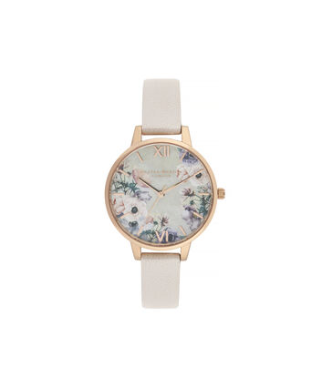 OLIVIA BURTON LONDON Watercolour Florals Demi Dial Watch with Nude Mother-Of-PearlOB16PP53 – Demi Dial in pink and Rose Gold - Front view
