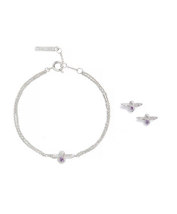 OLIVIA BURTON LONDON Bejewelled Bee Bracelet and Earrings Gift Set Sterling Silver & AmethystOBJGSET01 – Gift Set in Silver - Front view