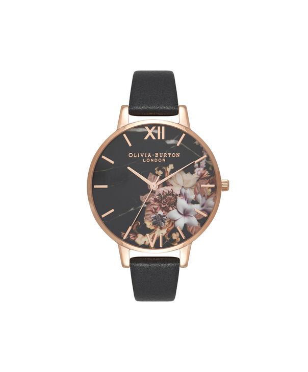 Ladies Marble Floral Black & Rose Gold Watch | Olivia Burton London