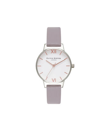 OLIVIA BURTON LONDON Midi Dial White Dial Grey Lilac Watch, Rose Gold & SilverOB16MDW26 – Midi Dial in White and Grey Lilac - Front view