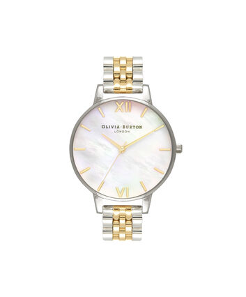 OLIVIA BURTON LONDON  Mother of Pearl White Bracelet, Gold & Silver OB16MOP05 – Big Dial Round in Gold and Silver - Front view