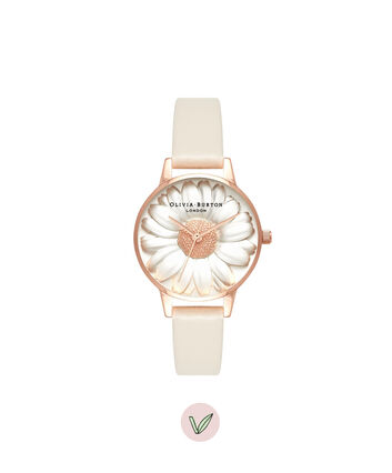 OLIVIA BURTON LONDON 3D Daisy Vegan Nude & Rose GoldOB16FS101 – Midi Dial Round in Gold - Front view