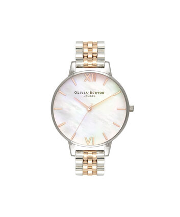 OLIVIA BURTON LONDON  Mother of Pearl White Bracelet, Rose Gold & Silver OB16MOP06 – Big Dial Round in Silver and Rose Gold - Front view
