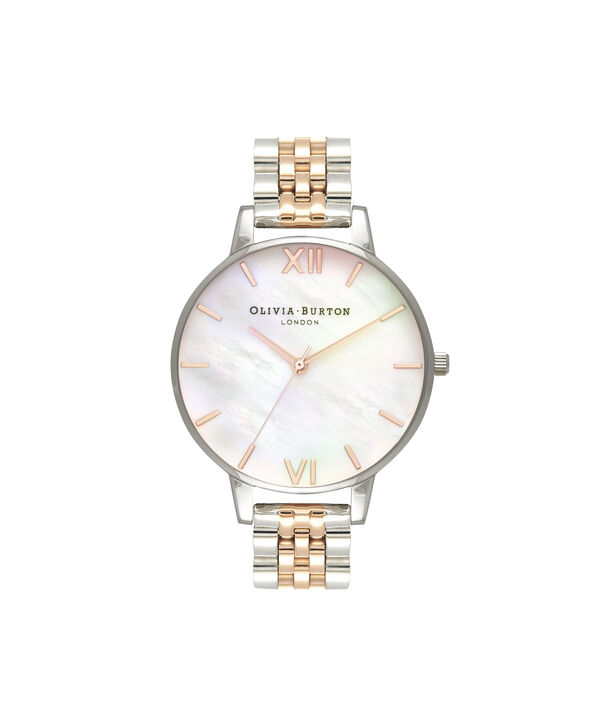 Mother Of Pearl >> Ladies Mother Of Pearl White Bracelet Rose Gold Silver Olivia