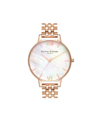 OLIVIA BURTON LONDON  Mother of Pearl White Bracelet, Rose Gold OB16MOP03 – Big Dial Round in Rose Gold and Rose Gold - Front view