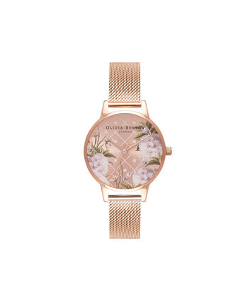 OLIVIA BURTON LONDON  Dot Design Rose Gold Mesh Watch OB16DD06 – Midi Dial Dot in Floral and Rose Gold - Front view