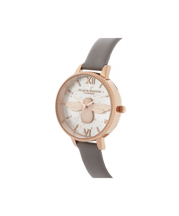 OLIVIA BURTON LONDON Celestial 3D Bee Demi Dial WatchOB16GD06 – Demi Dial in grey and Rose Gold - Side view