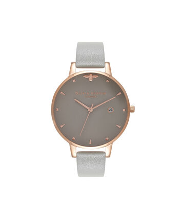 OLIVIA BURTON LONDON Queen Bee Grey Dial & Rose Gold WatchOB16AM87 – Big Dial Round in Grey - Front view