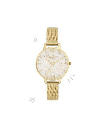 OLIVIA BURTON LONDON Celestial Demi Dial Watch with Boucle MeshOB16GD15 – Demi Dial in gold and Gold - Front view