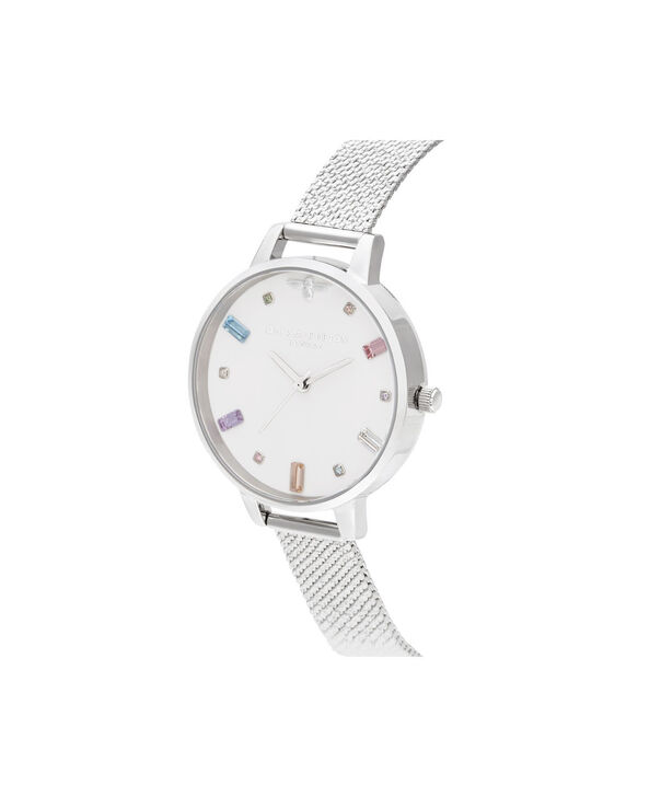 OLIVIA BURTON LONDON Rainbow Bee Demi Silver Boucle MeshOB16RB10 – Demi Dial In Silver And Silver - Side view