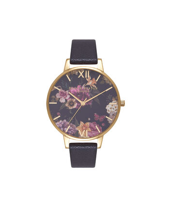 OLIVIA BURTON LONDON  Dark Bouquet Black & Gold Watch OB16EG78 – Big Dial Round in Floral and Black - Front view