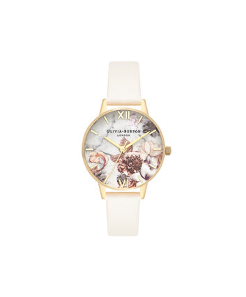 OLIVIA BURTON LONDON  Marble Florals Nude & Gold OB16CS15 – Big Dial Round in Nude and Gold - Front view
