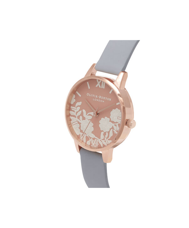 OLIVIA BURTON LONDON  Lace Detail Rose Petal Dial Chalk Blue & Rose Gold Watch OB16MV71 – Midi Dial Round in Rose Gold and Blue - Side view