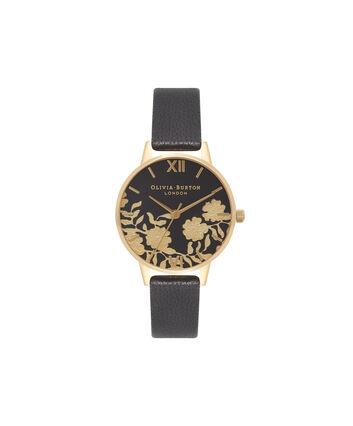 OLIVIA BURTON LONDON Lace Detail Black & Gold Watch OB16MV60 – Midi Dial Round in Black - Front view