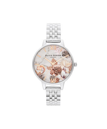 OLIVIA BURTON LONDON Marble Florals Rose Gold & Silver BraceletOB16CS31 – SHOPBAG_LABEL - Front view