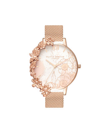 OLIVIA BURTON LONDON  Case Cuffs Rose Gold Mesh OB16CB13 – Midi Dial Round in Rose Gold - Front view
