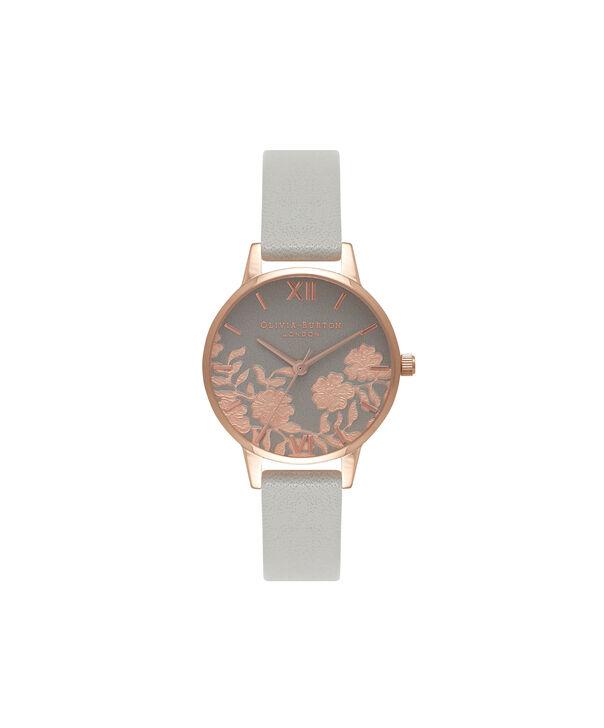 Ladies Lace Detail Grey & Rose Gold Watch | Olivia Burton London