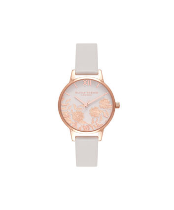 OLIVIA BURTON LONDON  Lace Detail Blush & Rose Gold Watch OB16MV69 – Midi Dial Round in Blush - Front view