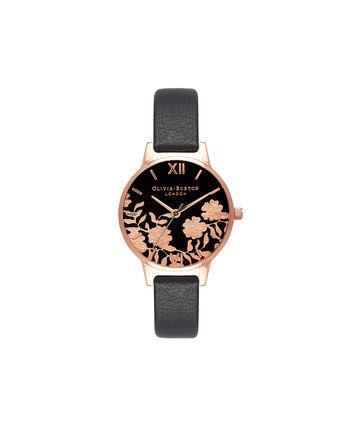 OLIVIA BURTON LONDON Lace Detail Black & Rose Gold Watch OB16MV75 – Midi Dial Round in Black - Front view