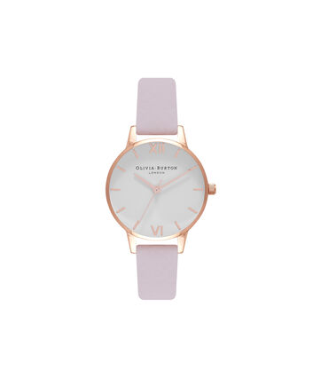 OLIVIA BURTON LONDON  Midi Dial Blossom & Rose Gold Watch OB16MDW36 – Midi Dial Round in White and Blossom - Front view